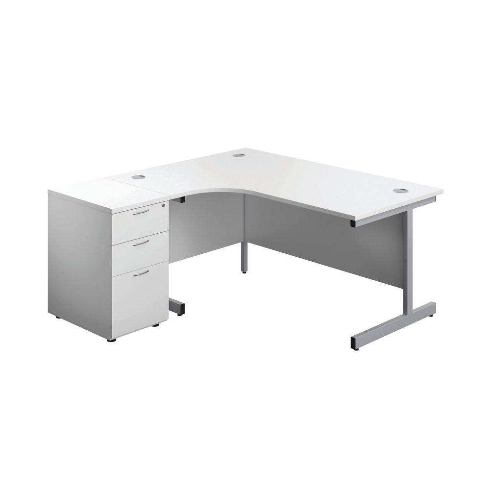 First 1600mm White/Silver Left Hand Radial Desk with Pedestal