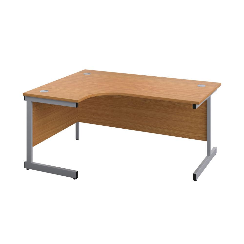 First 1800mm Nova Oak/Silver Left Hand Radial Desk