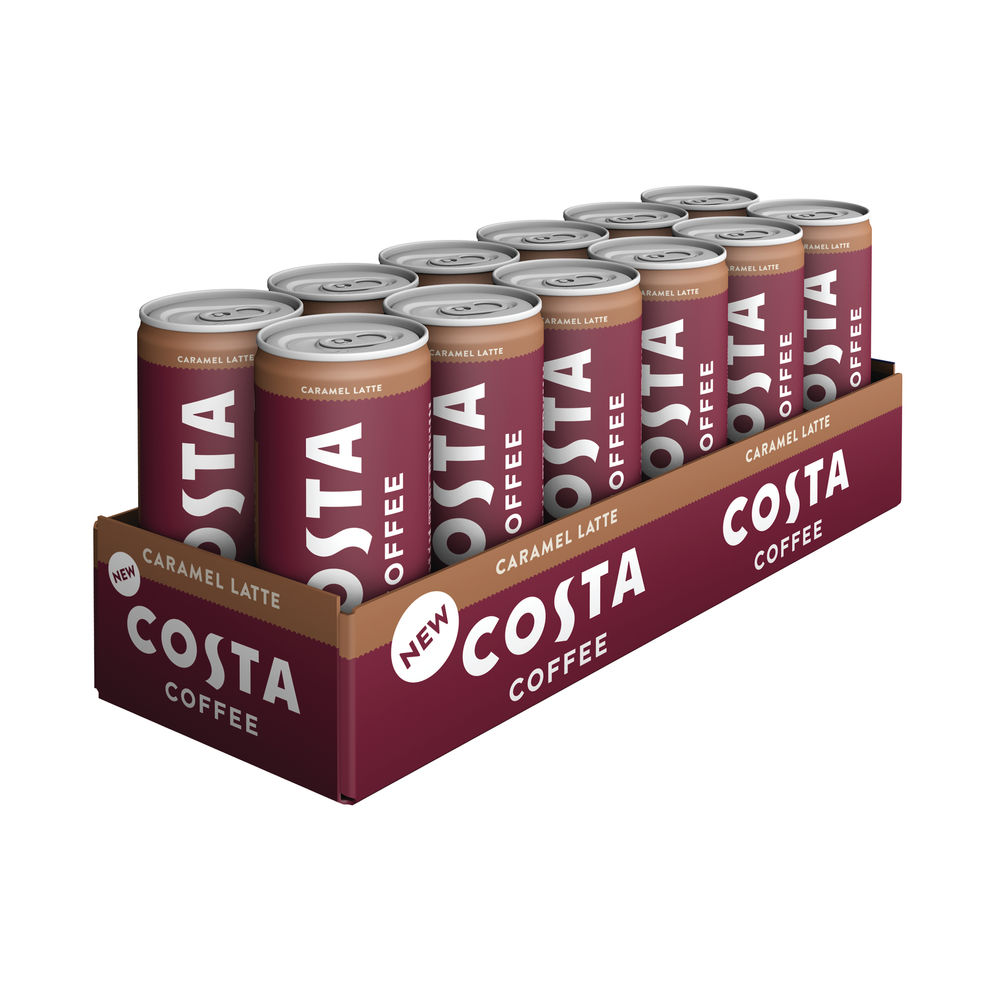 Costa Coffee Caramel Latte 250ml Can (Pack of 12) 249811