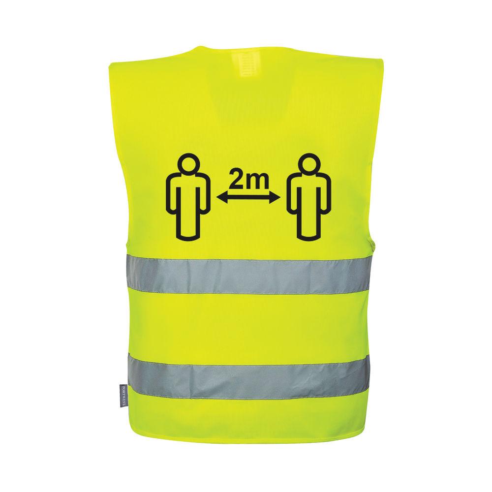 Hi-Vis Social Distancing Vest 2m Large/XL Yellow C406 C406 L/XL