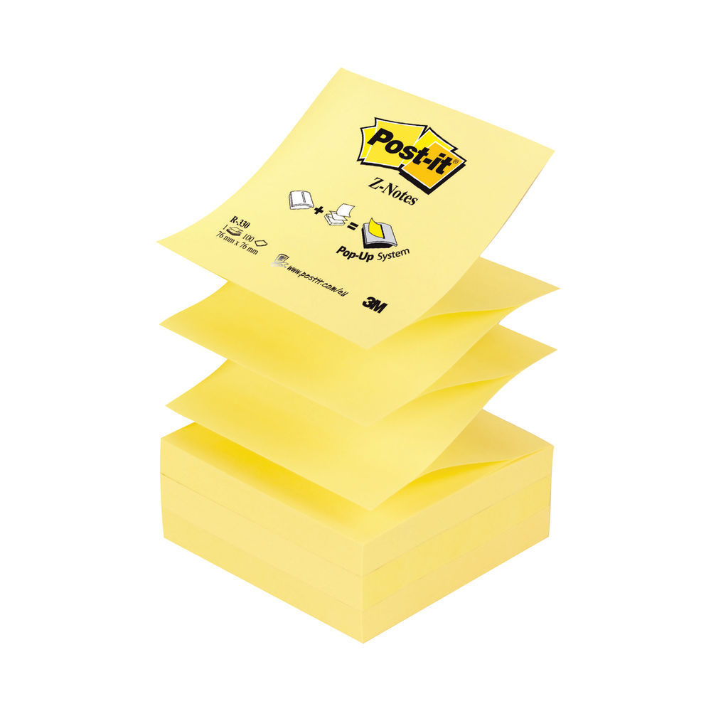 Post-it 76 x 76mm Canary Yellow Z-Notes, Pack of 12 - R330