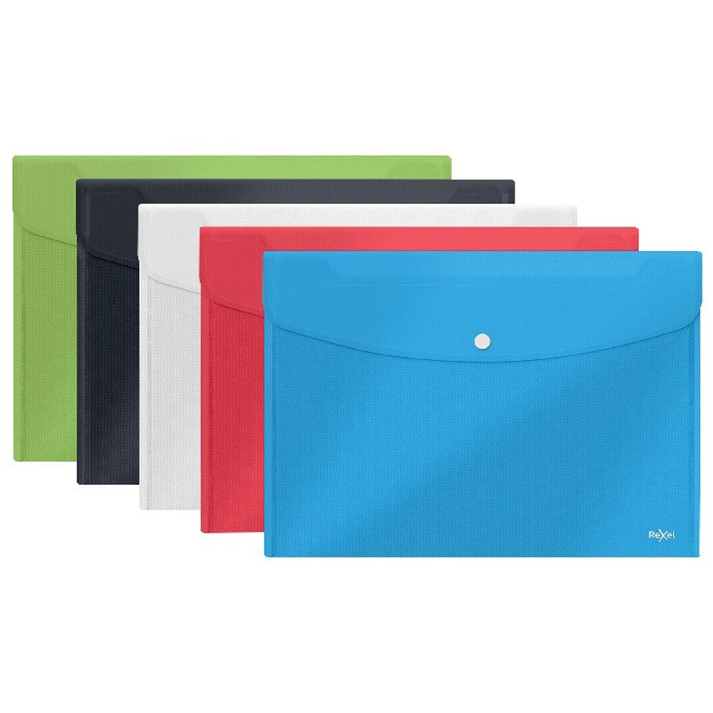 Rexel Assorted A4/Foolscap Choices Popper Wallets, Pack of 5 - 2115672
