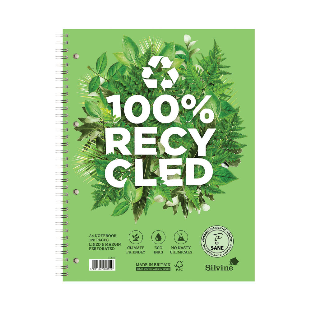 Silvine Premium Recycled Wirebound Notebook A4 (Pack of 5) R102