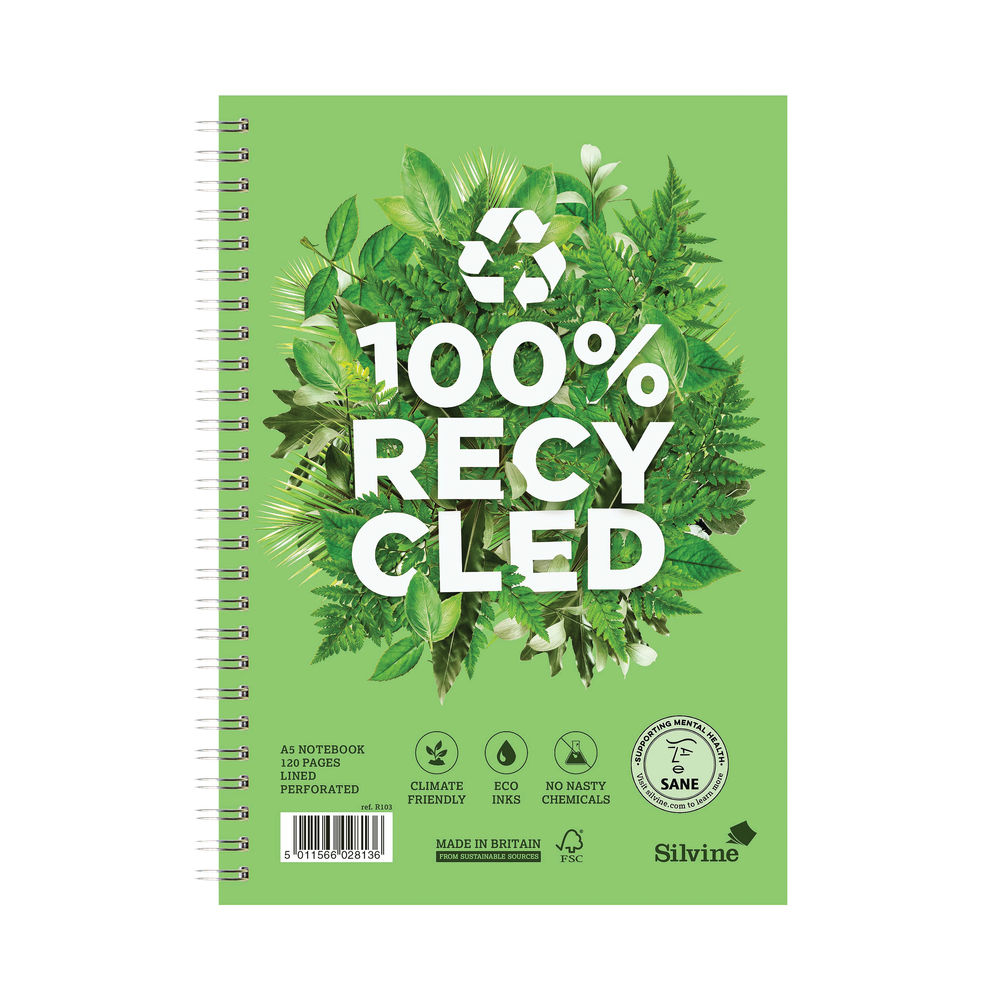 Silvine A5 Premium Recycled Wirebound Notebooks, Pack of 5 - R103