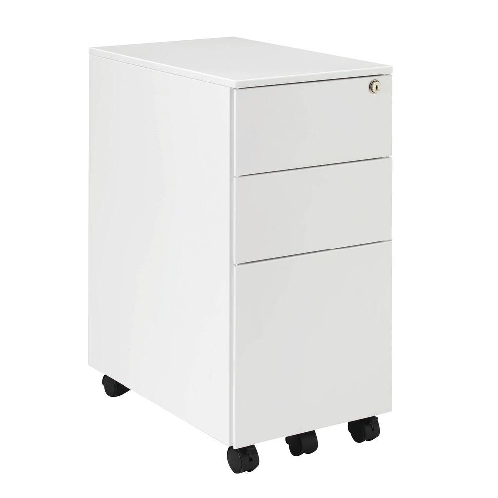 Jemini 615mm White 3 Drawer Mobile Slimline Steel Pedestal