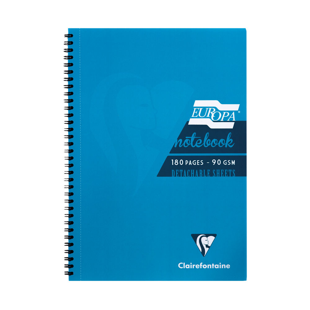 Europa Turquoise A4 Wirebound Notebook, Pack of 5 - 5802Z