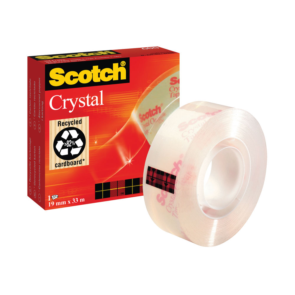 Scotch Crystal Tape Multipurpose 19mm x 33m Clear Glossy 600