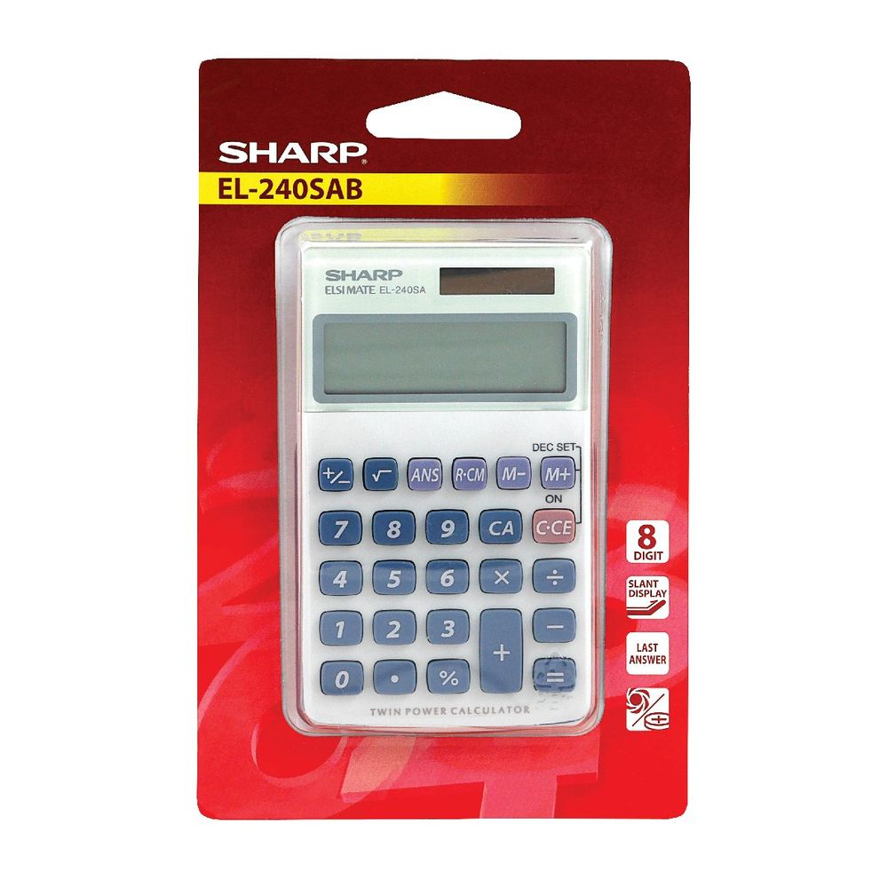Sharp Silver 8-Digit Hand Held Pocket Calculator EL240SAB
