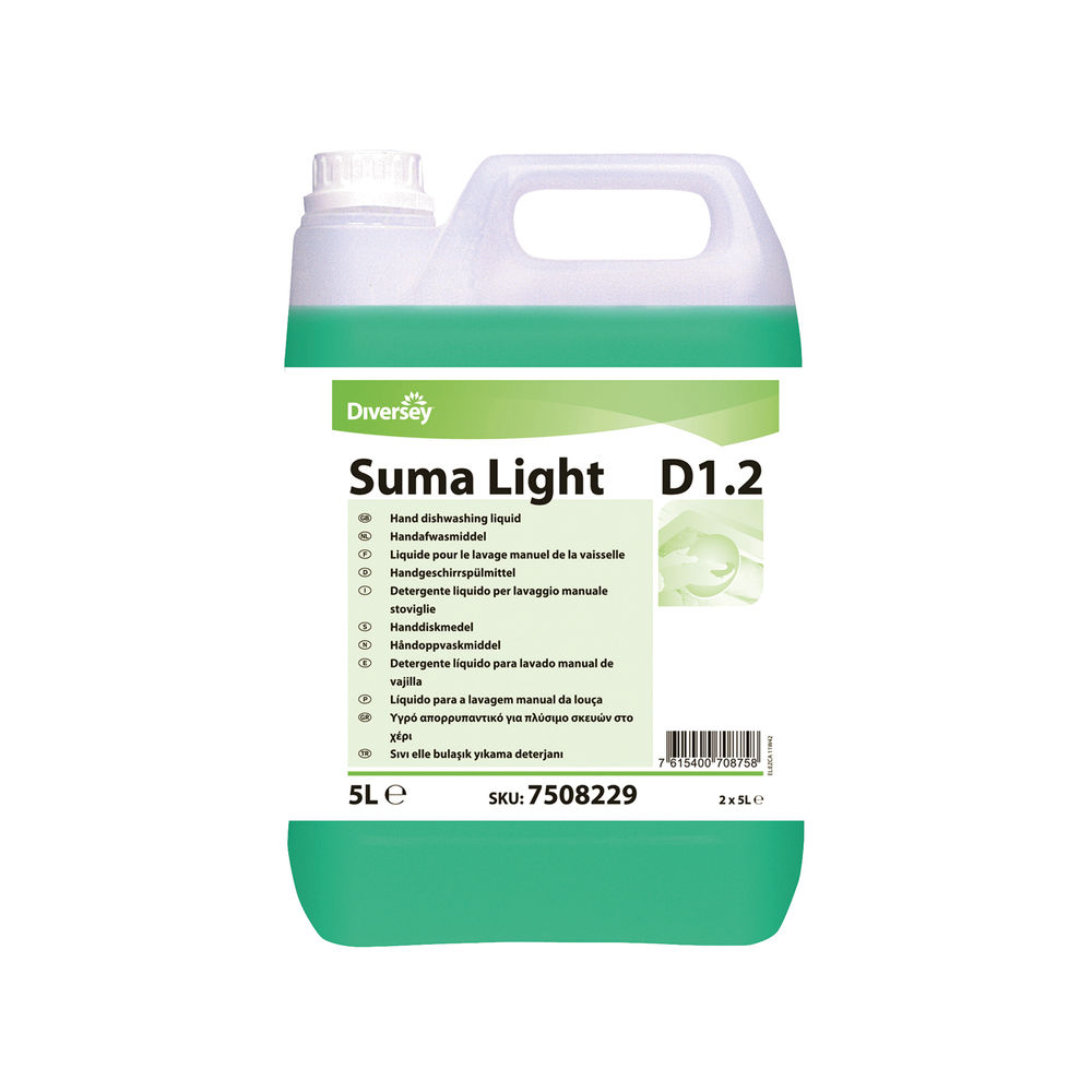 Diversey 1.5 Litre Suma Light D1.2 Dishwashing Liquid, Pack of 2 - 7508229