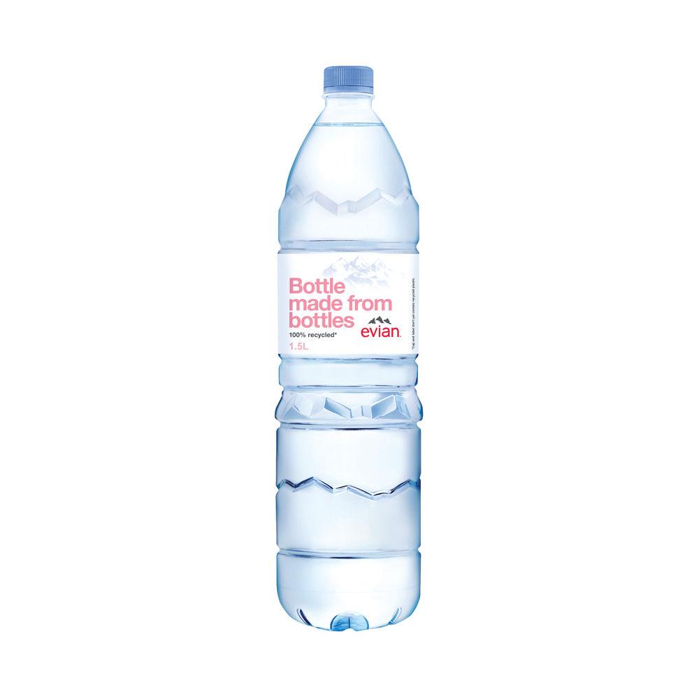 Evian 1.5 Litre Natural Spring Water Bottles, Pack of 8 - 143136