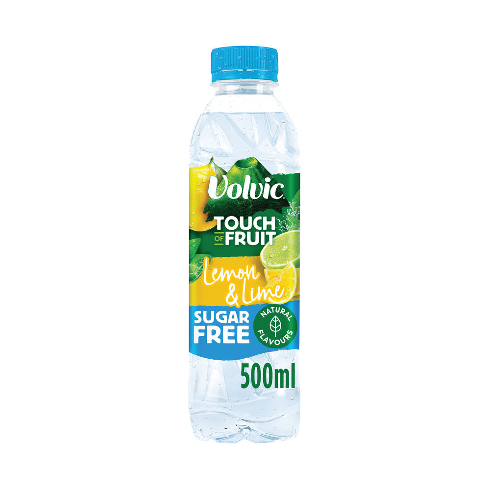 Volvic 500ml Touch of Fruit Lemon and Lime Water Bottles, Pack of 12 - 122441