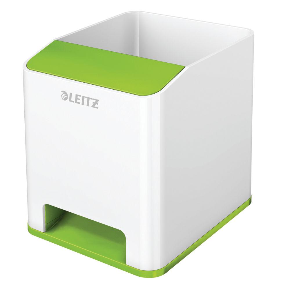 Leitz WOW White and Green Dual Colour Sound Pen Holder - 53631054