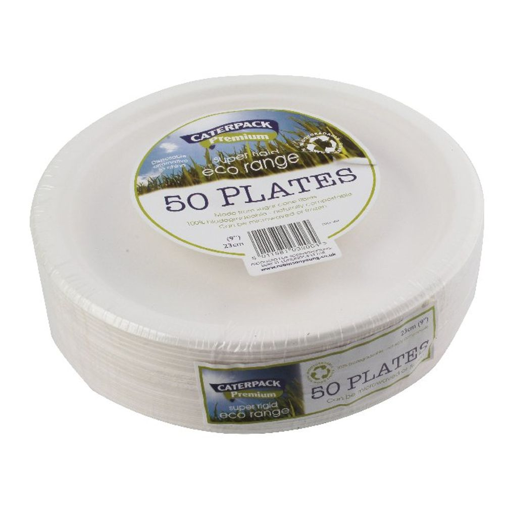 9 Inch Biodegradable Super Rigid Plates, Pack of 50 | 3864