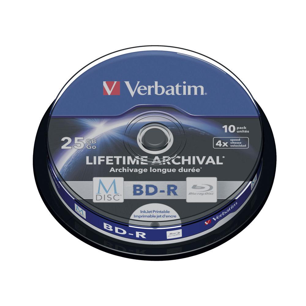 Verbatim 25GB BD-R Printable Spindle MDISC Blu-Rays, Pack of 10 - 43825