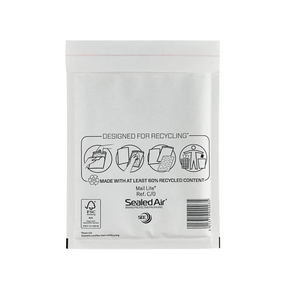 Mail Lite C/0 150 x 210mm Bubble Lined Postal Bags, Pack of 100 - MLW C/0