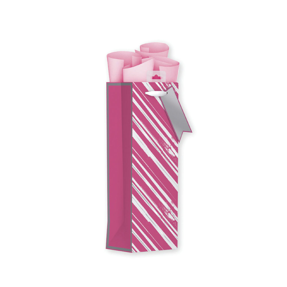Giftmaker Pink Vertical Stripe Bottle Bags, Pack of 6 - FCSB