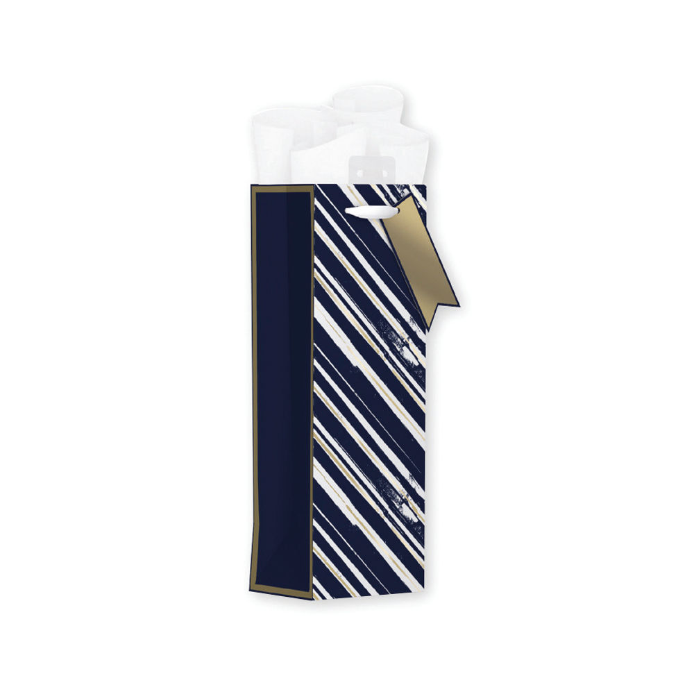 Giftmaker Blue Vertical Stripe Bottle Bags, Pack of 6 - MGSB