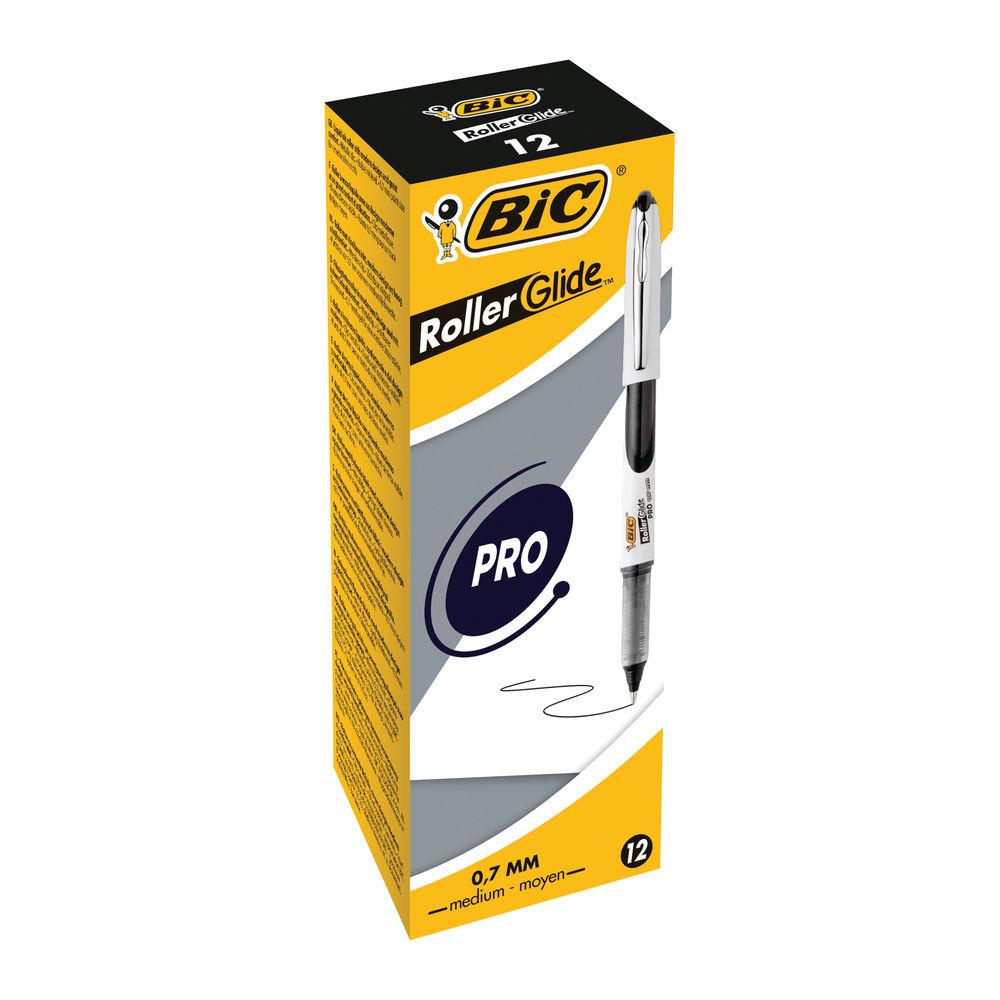 Bic Black Medium Liquid Ink Rollerball Pens, Pack of 12 - 885785