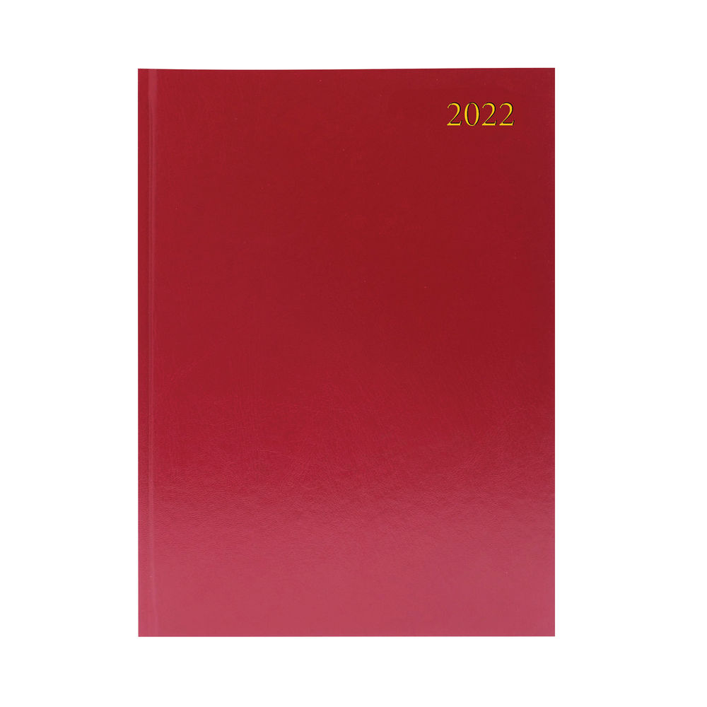Burgundy A4 2 Pages Per Day 2022 Desk Diary