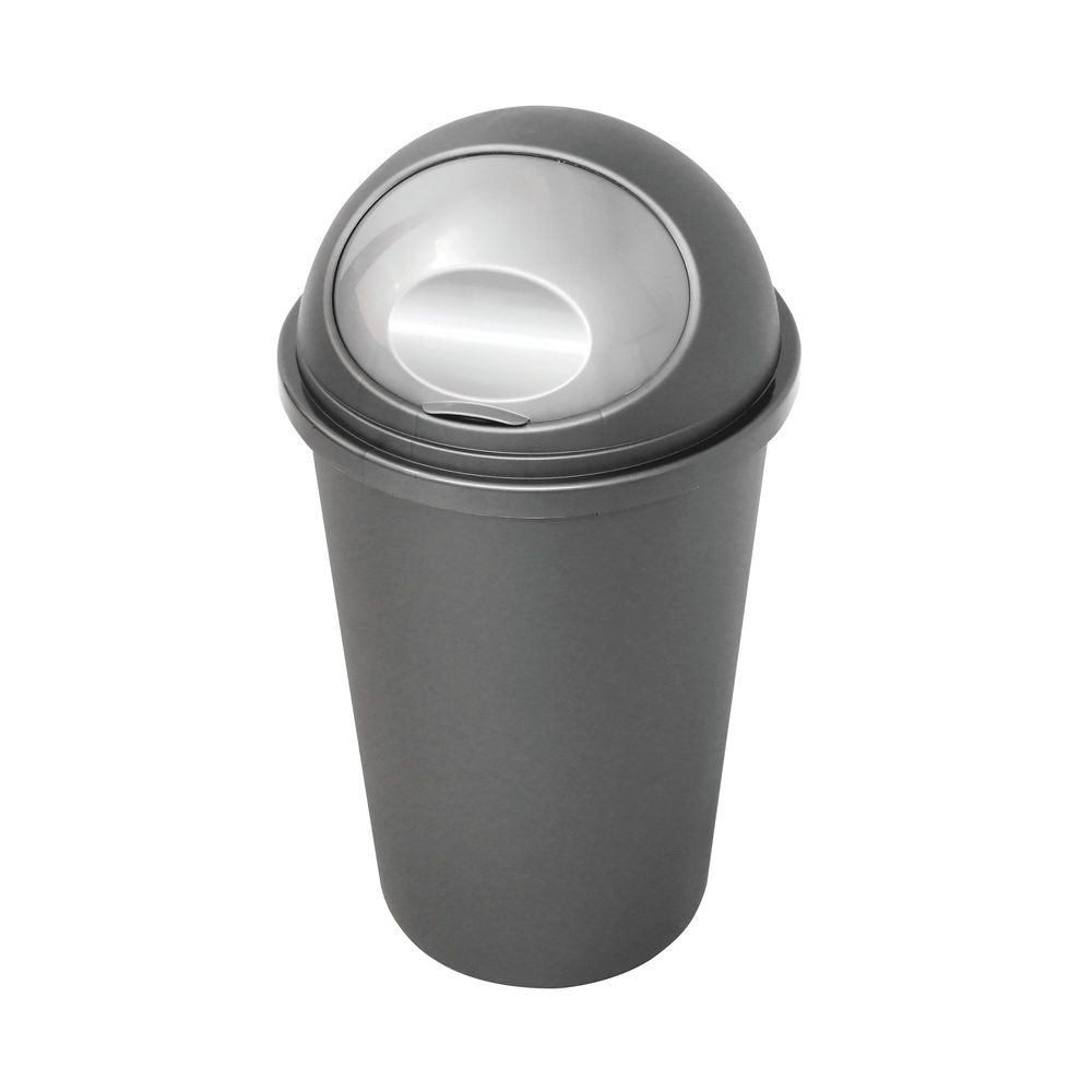Casa Bullet Silver Roll Top Plastic Bin (Capacity for up to 50 litres) 374963