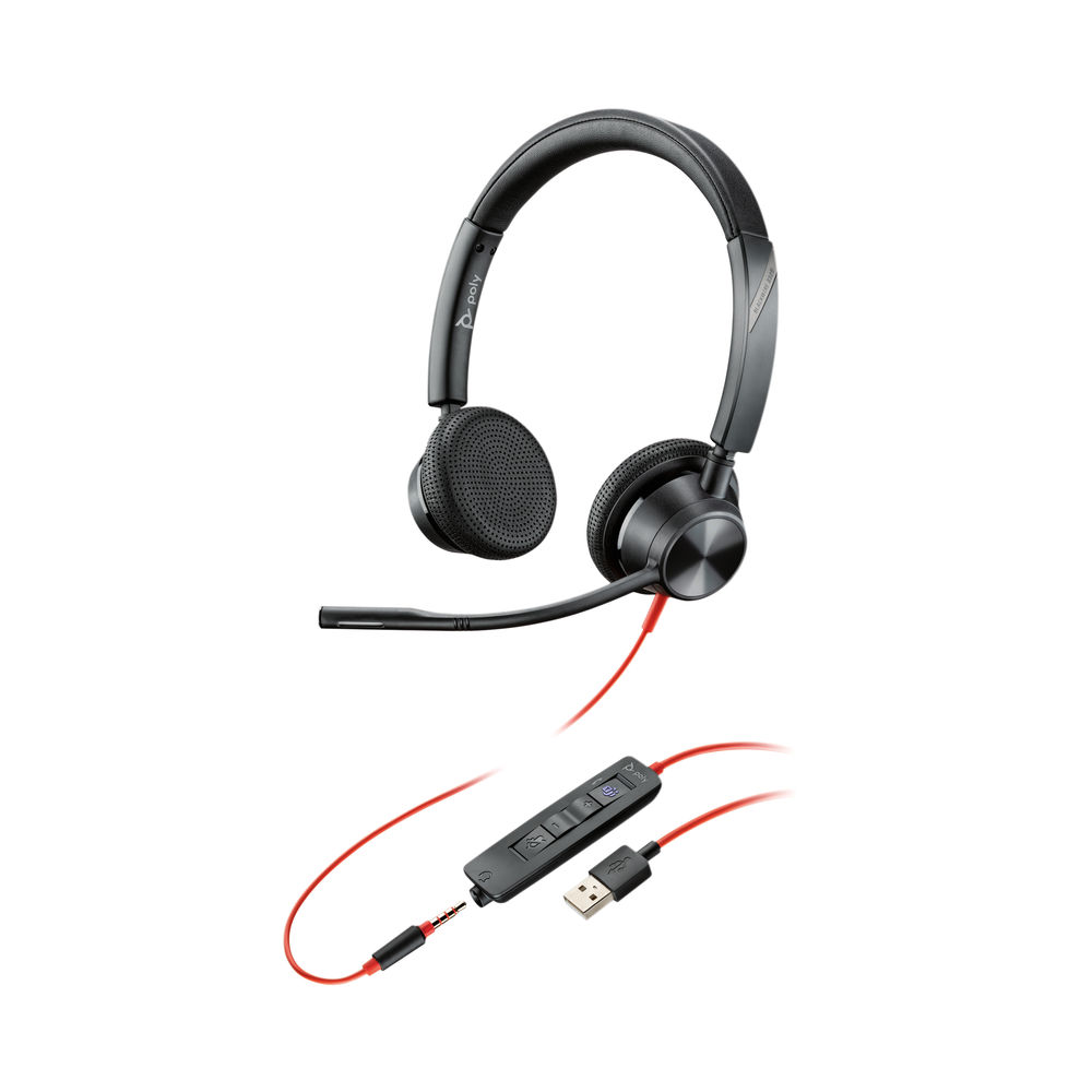 Poly Blackwire 3325 BW3325-M Headset USB-A Corded Black 214016-01