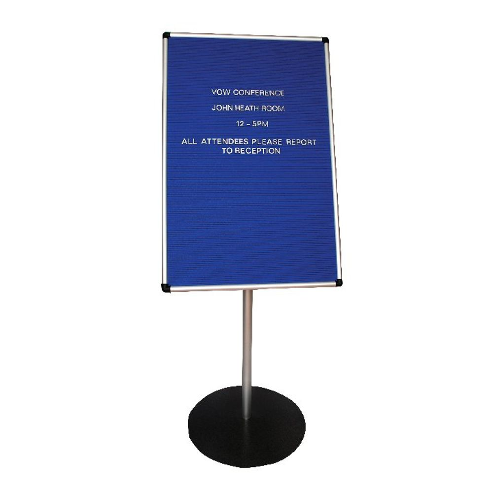 Announce Groove Letter Board with 1100mm Stand 900x600mm Blue AA847001