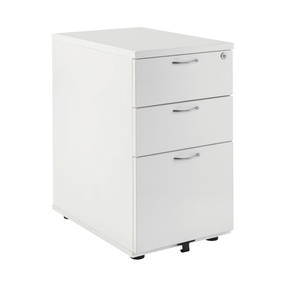 First 730mm White 3 Drawer High Pedestal