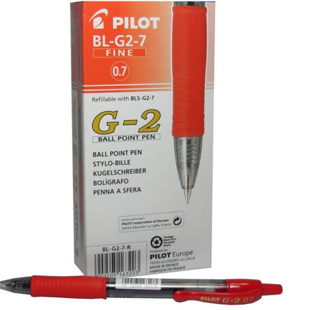 Pilot G207 Red Gel Ink Pens, Pack of 12 - BLG207-02