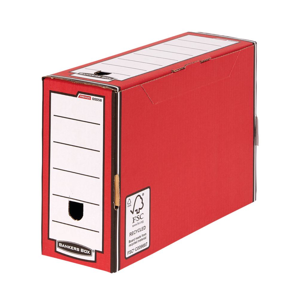 Bankers Box Premium 127mm Transfer File-Red (Pack of 5) 5805