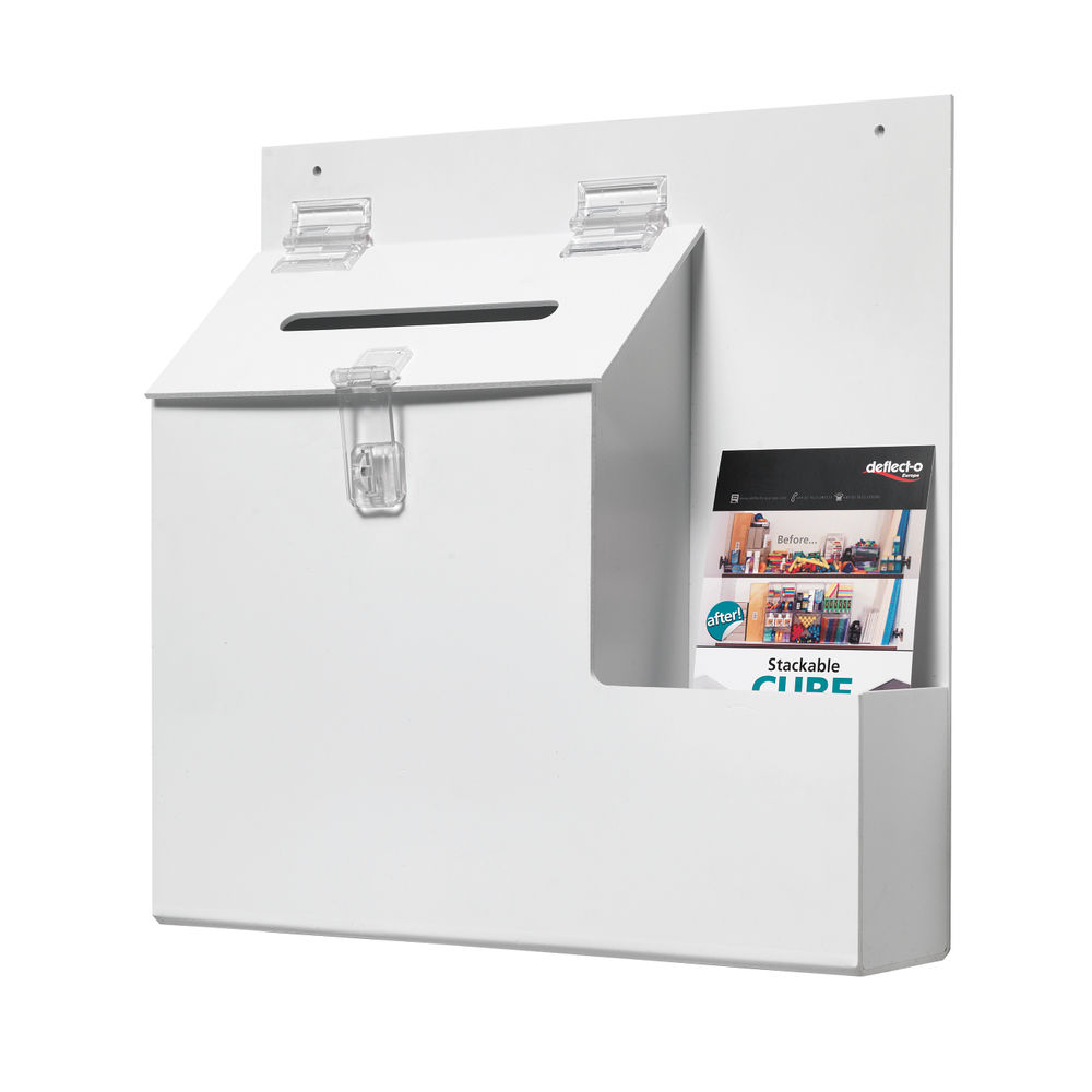 Deflecto White Ballot / Suggestion Box, W350 x D83 x H352mm - DE79803