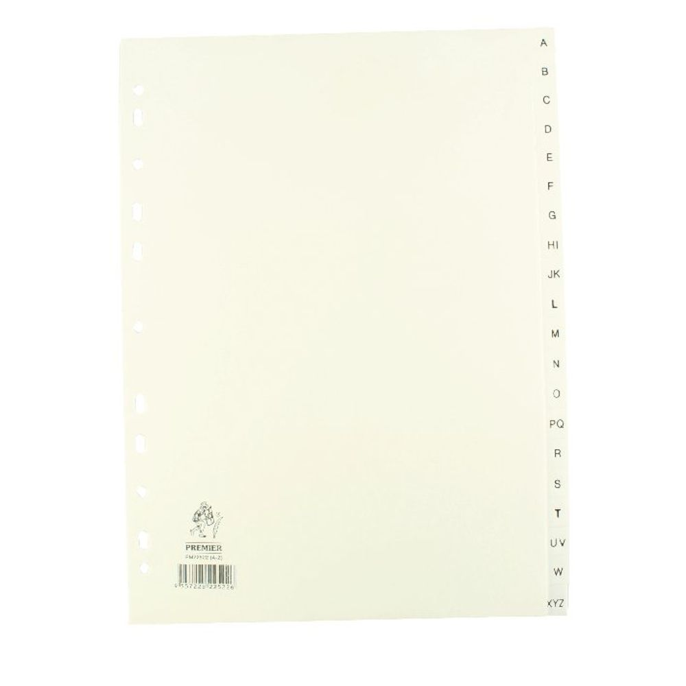 White A4 A-Z Polypropylene Index - WX01351