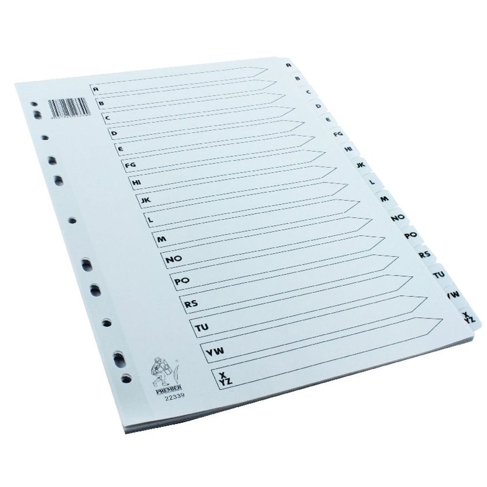 White A4 A-Z Mylar Index - WX01532