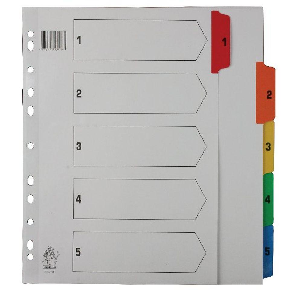 Multicoloured A4 1-5 Mylar Index WX01518