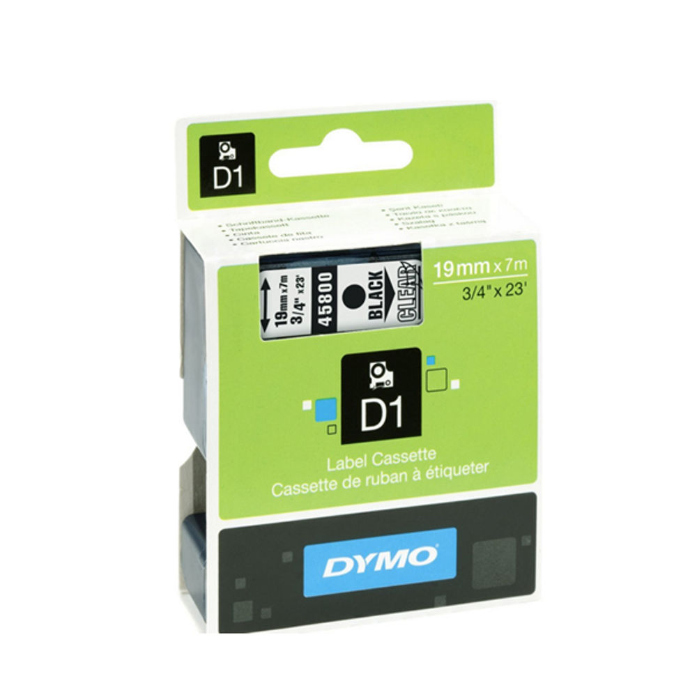 Dymo D1 Labelmaker Tape 19mm x 7m Black on Clear | S0720820