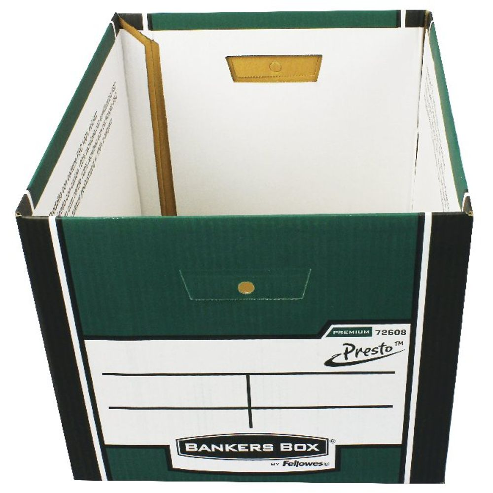 Fellowes Green Bankers Box Premium Presto Storage Box, Pack of 10+2 - 00730-FF