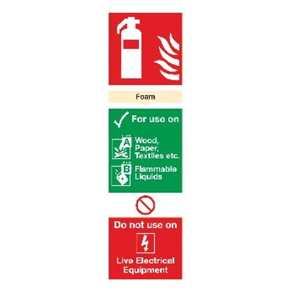 Fire Extinguisher Foam 300 x 100mm PVC Safety Sign - F102/R