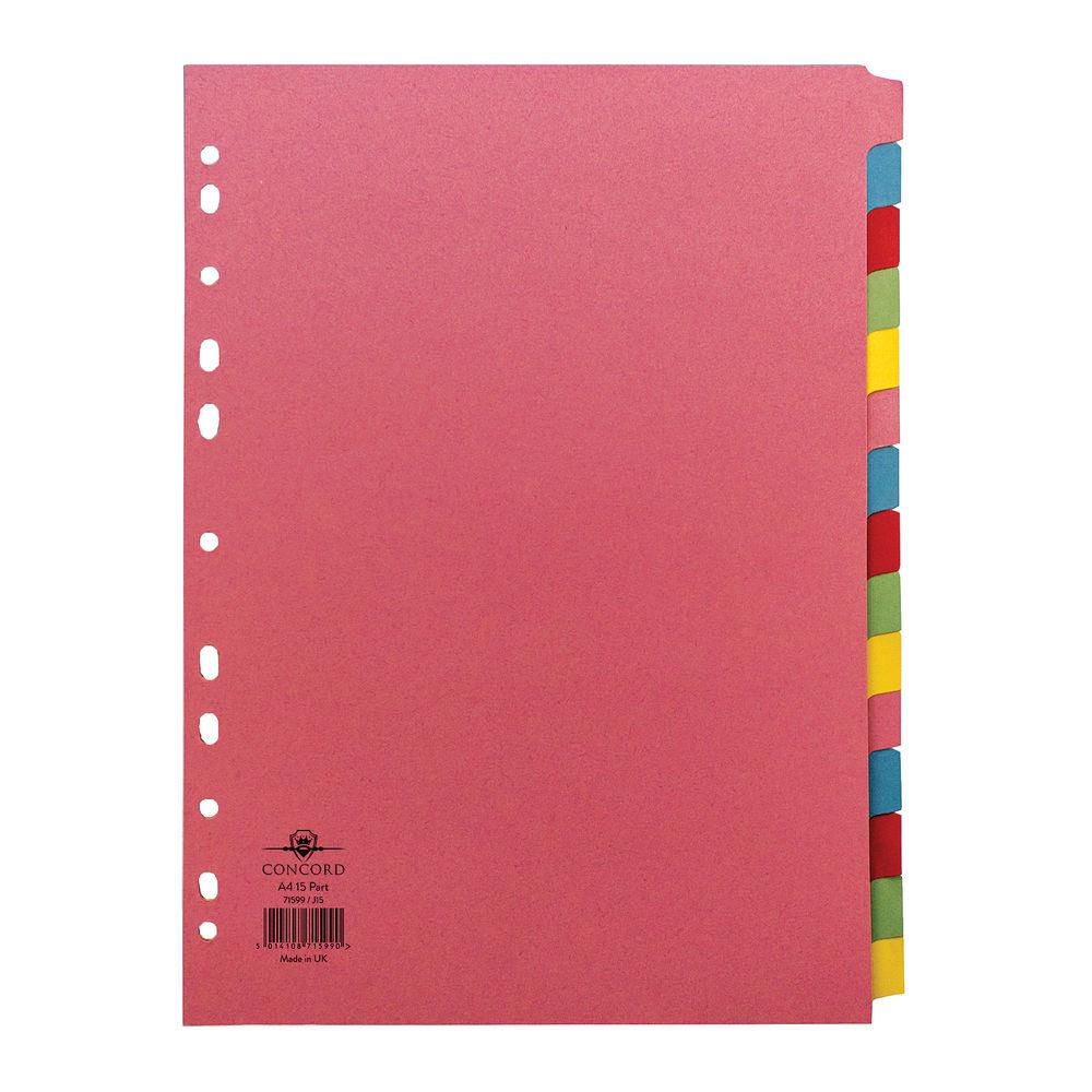 Concord A4 15-Part Multicoloured Dividers - 71599/J15