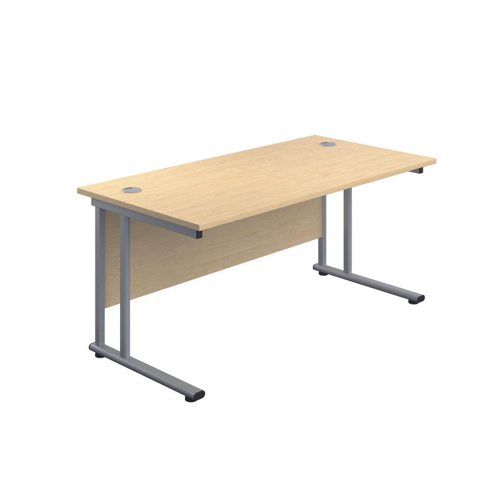 Jemini 800 x 600mm Maple/Silver Double Upright Rectangular Desk