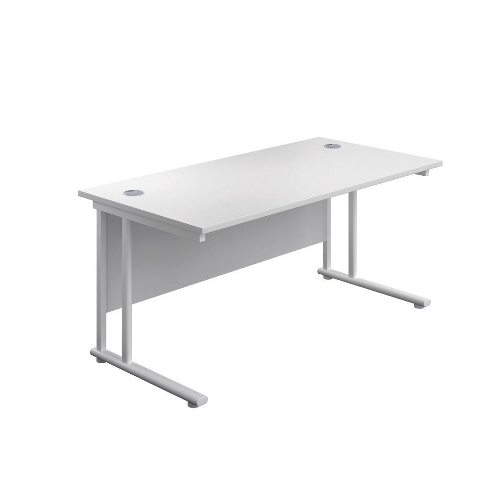 Jemini 800 x 600mm White/White Cantilever Rectangular Desk