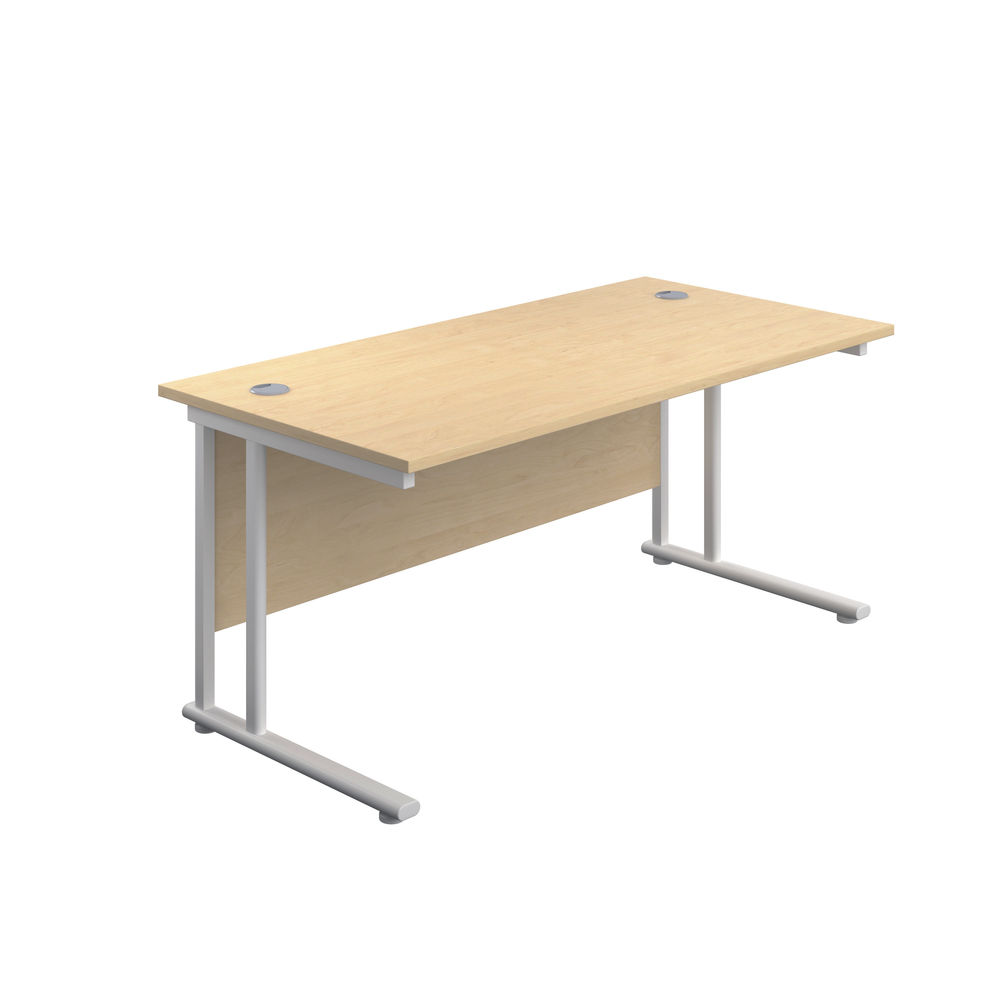 Jemini 800 x 600mm Maple/White Cantilever Rectangular Desk