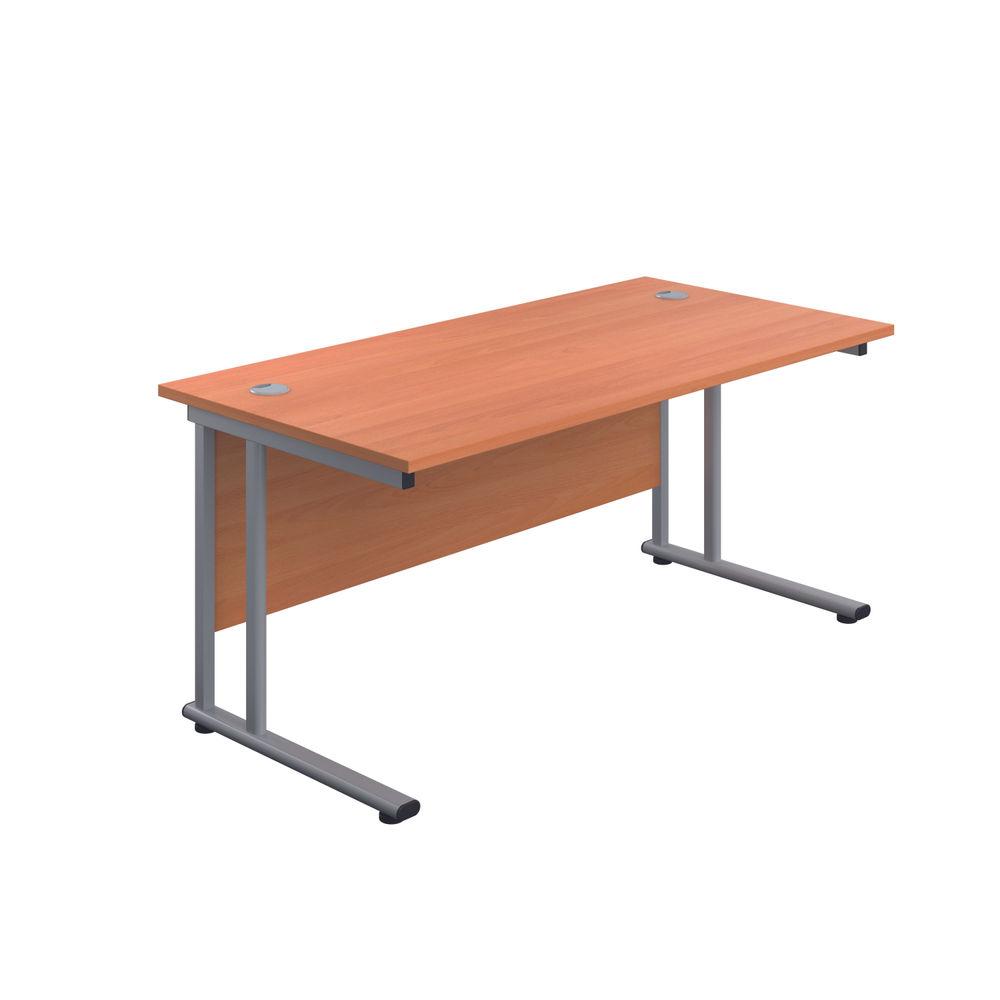 Jemini 1400 x 600mm Beech/Silver Cantilever Rectangular Desk