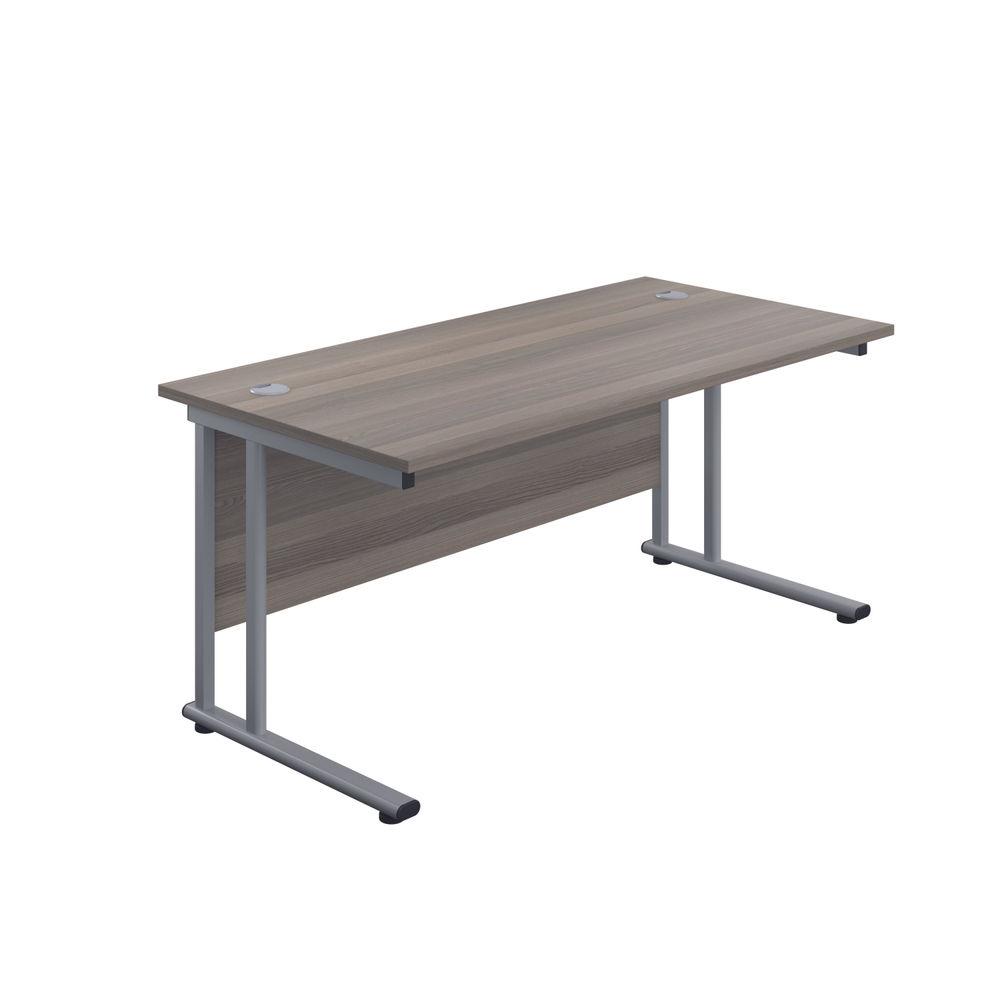 Jemini 1400 x 600mm Grey Oak/Silver Cantilever Rectangular Desk