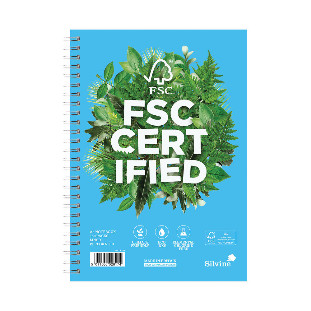 Silvine A5 Wirebound FSC Premium Ruled Notebooks - Pack of 5 - R203