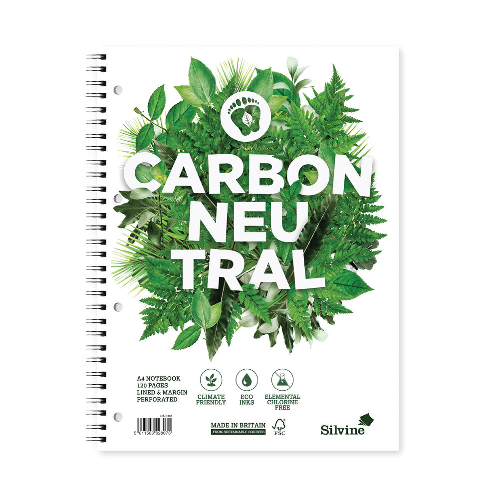 Silvine A4 Carbon Neutral Ruled Notebooks, Pack of 5 - R302