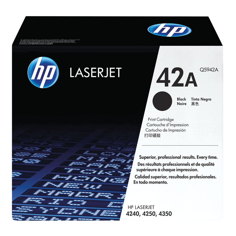 HP 42A Black Laserjet Toner Cartridge Q5942A