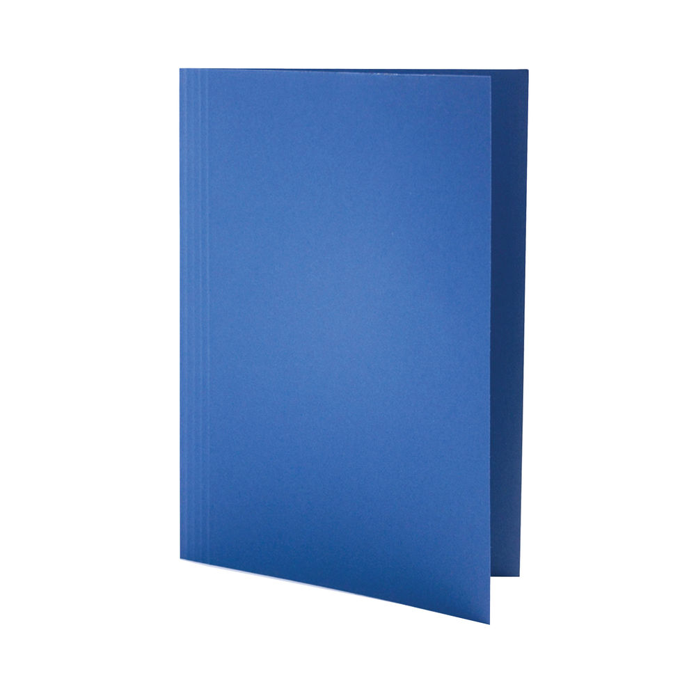 Guildhall Foolscap Blue Square Cut Folders 250gsm Pack of 100 FS250-BLUZ