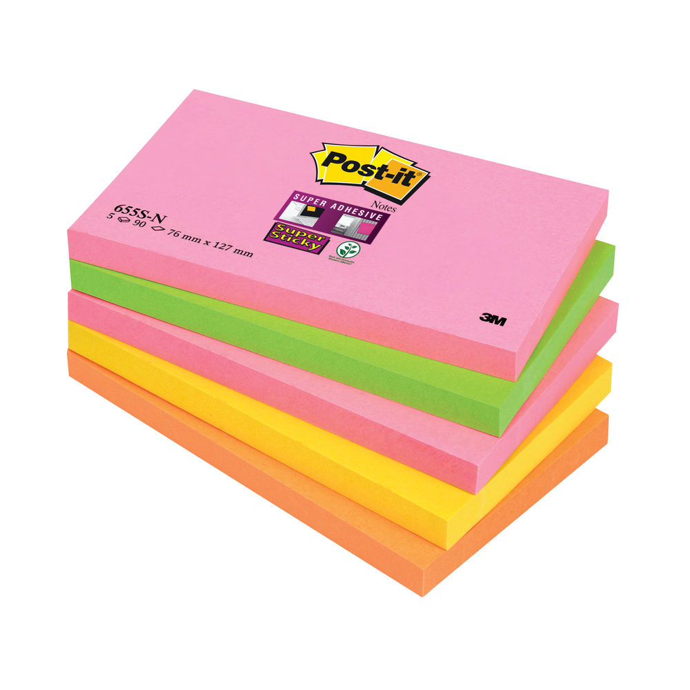 Post-it 76 x 127mm Cape Town Super Sticky Notes, Pack of 5 - 655-SN