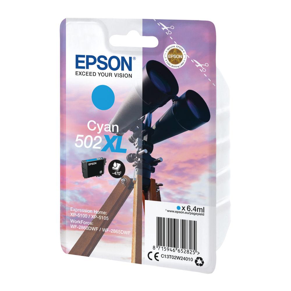 Epson Singlepack 502XL Cyan Ink Cartridge - C13T02W24010