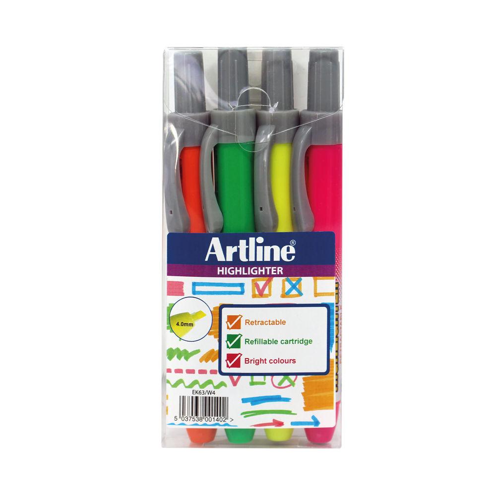 Artline Clix Retractable Highlighter Assorted (Pack of 4) EK63W4