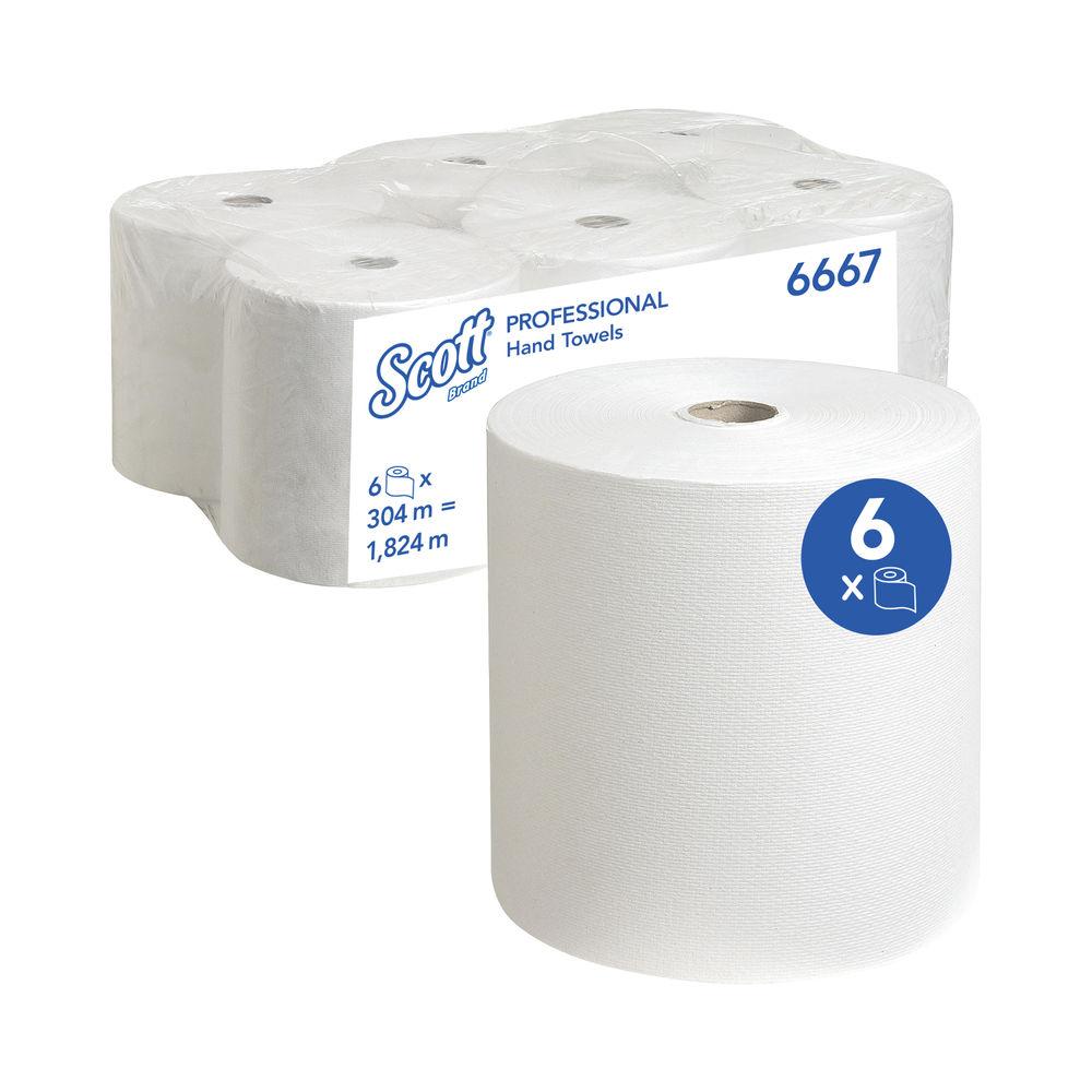 Scott Ultra 1-Ply Hand Towel Rolls, Pack of 6 - 6667